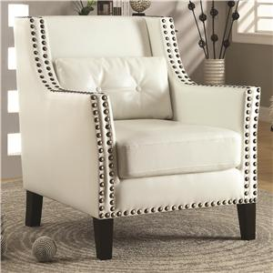 Coaster Accent Seating Transitional Wing Chair with Nail Heads