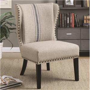 Coaster Accent Seating Traditional Accent Chair with Wing Back and Nailhead Trim