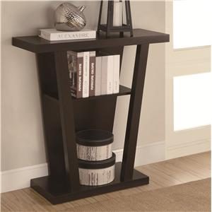 Coaster Accent Tables Angled Cappuccino Entry Table with Storage Space