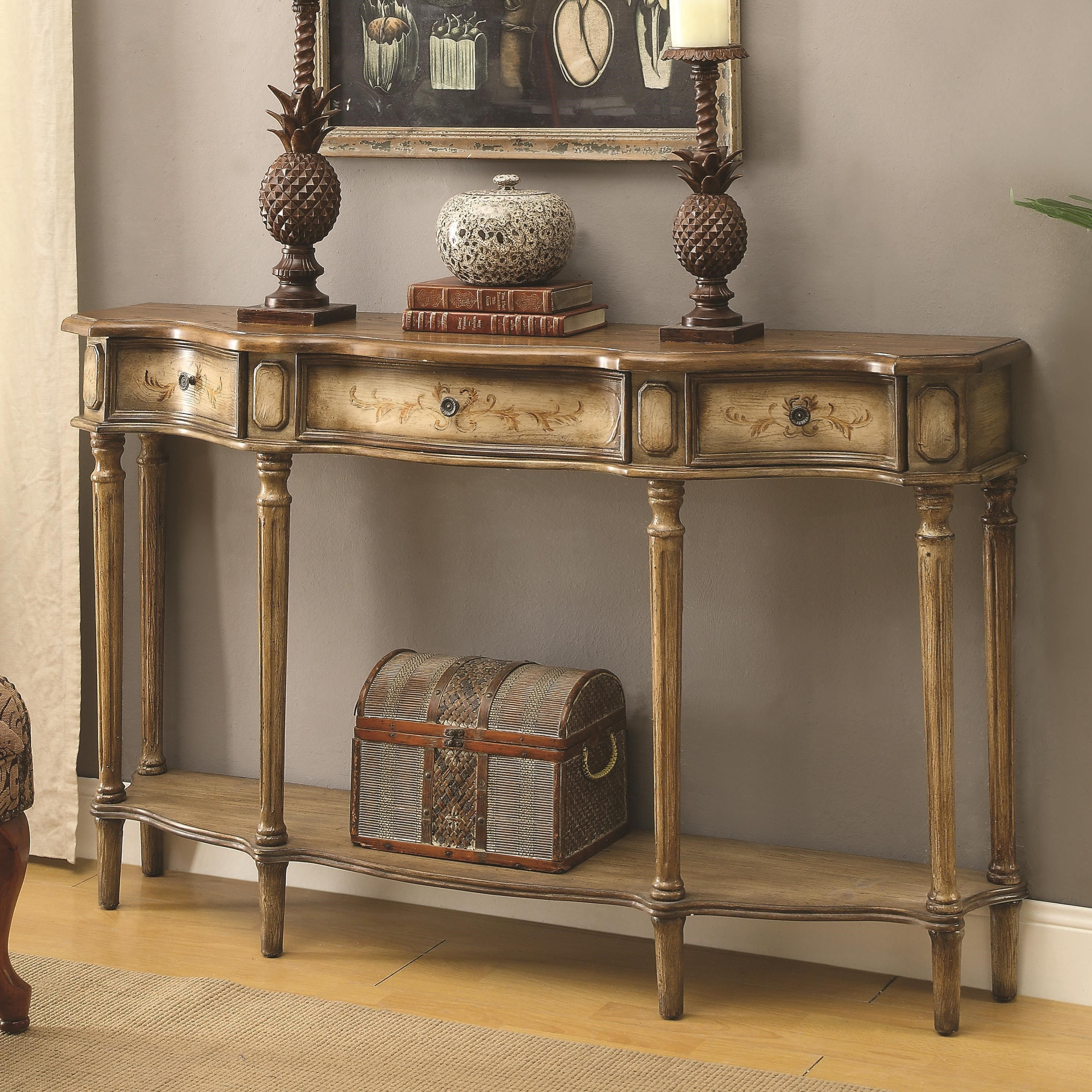 coaster accent tables console table  item number . coaster accent tables  traditional breakfront console table