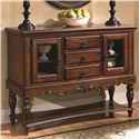Coaster Addison Traditional Three Drawer Server with Glass Cabinets