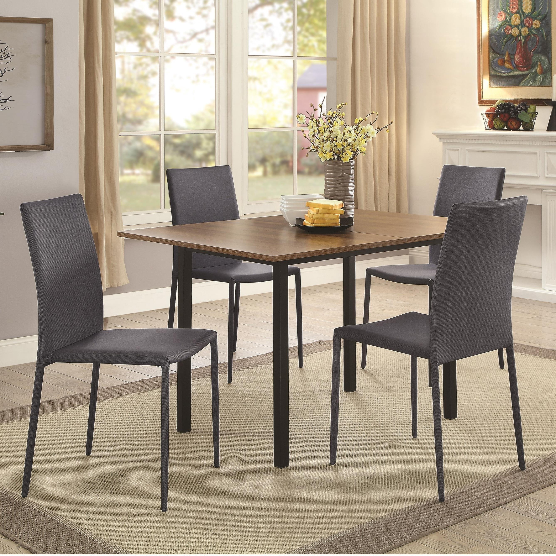 Coaster Adler 5 Piece Dining Table Set - Item Number: 107910+4x107912