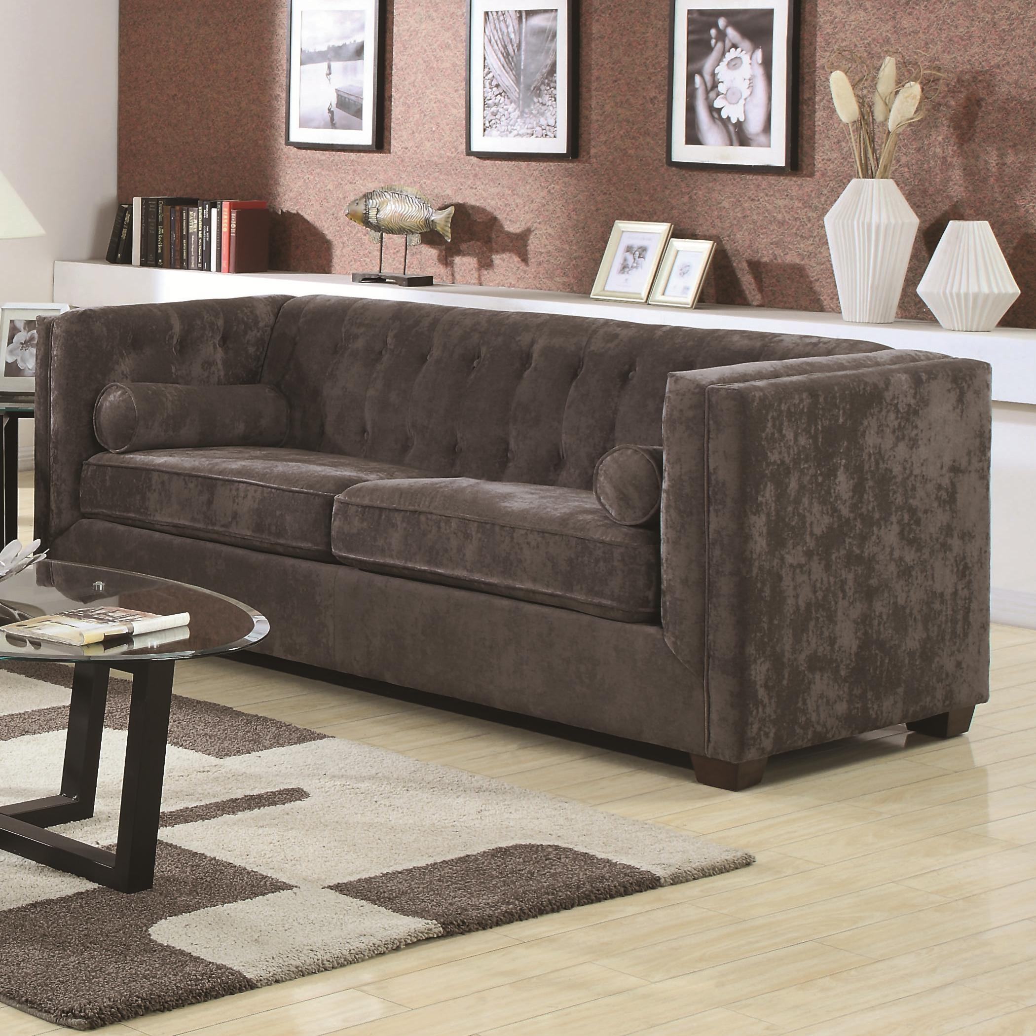 Coaster Alexis Ch Transitional Chesterfield Sofa With Track Arms Value City Furniture Sofas