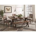 Coaster Alston Dining Set with Bench - Item Number: 121181+121183+4x106382