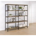 Coaster Analiese Contemporary Open Bookcase with Metal Frame