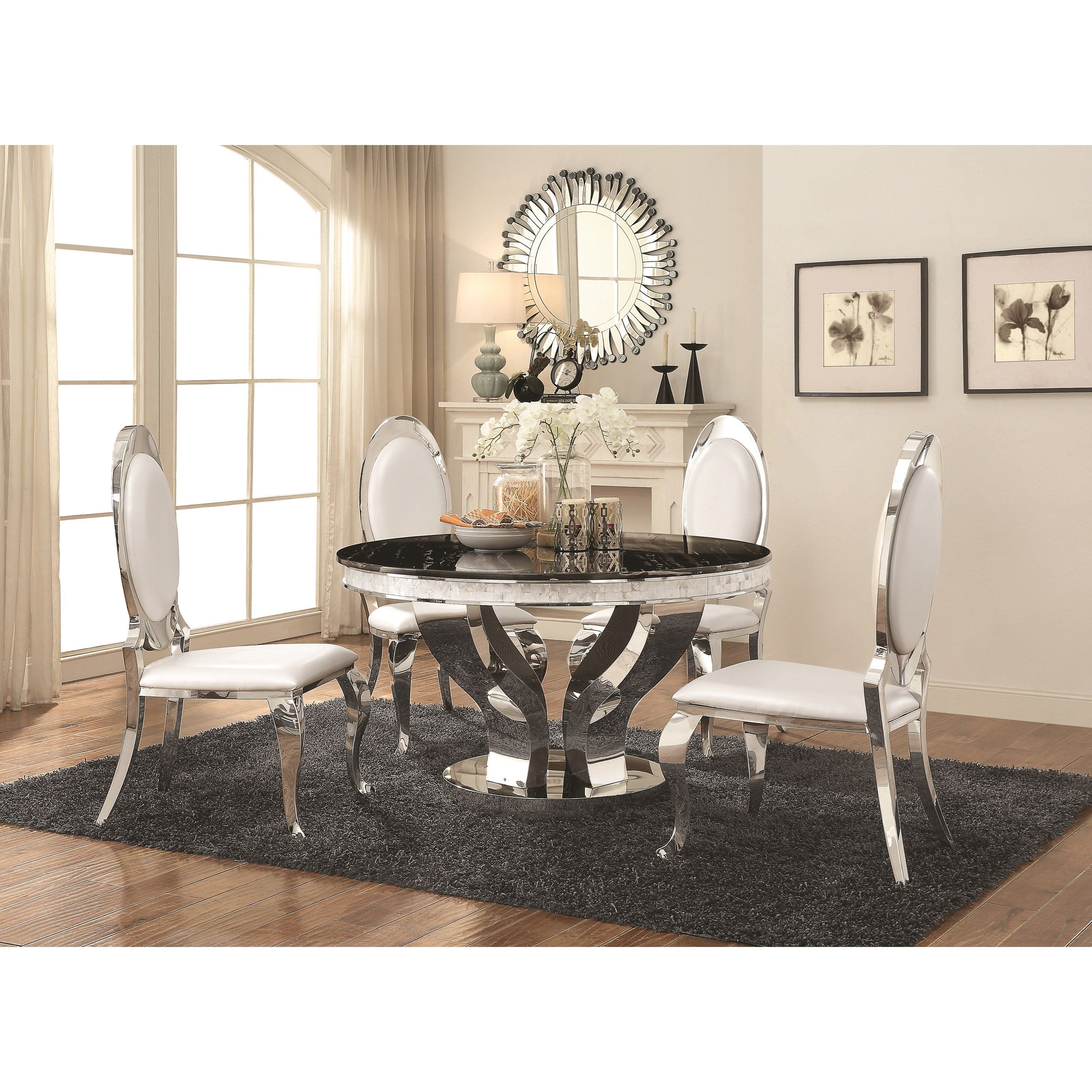 Ashleys Furniture Anchorage: Coaster Anchorage Faux Marble Dining Table With Chrome