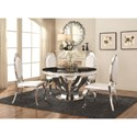 Coaster Anchorage Faux Marble Dining Table with Chrome Stainless Steel Base
