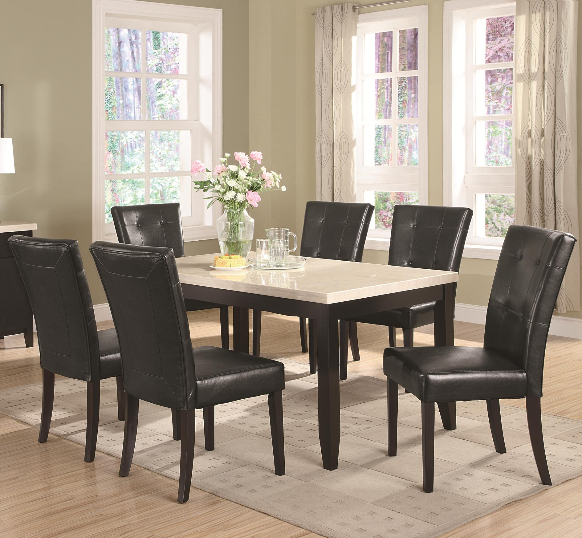 Coaster Anisa 7 Piece Dining Table and Chairs Set - Item Number: 102771+6x102772