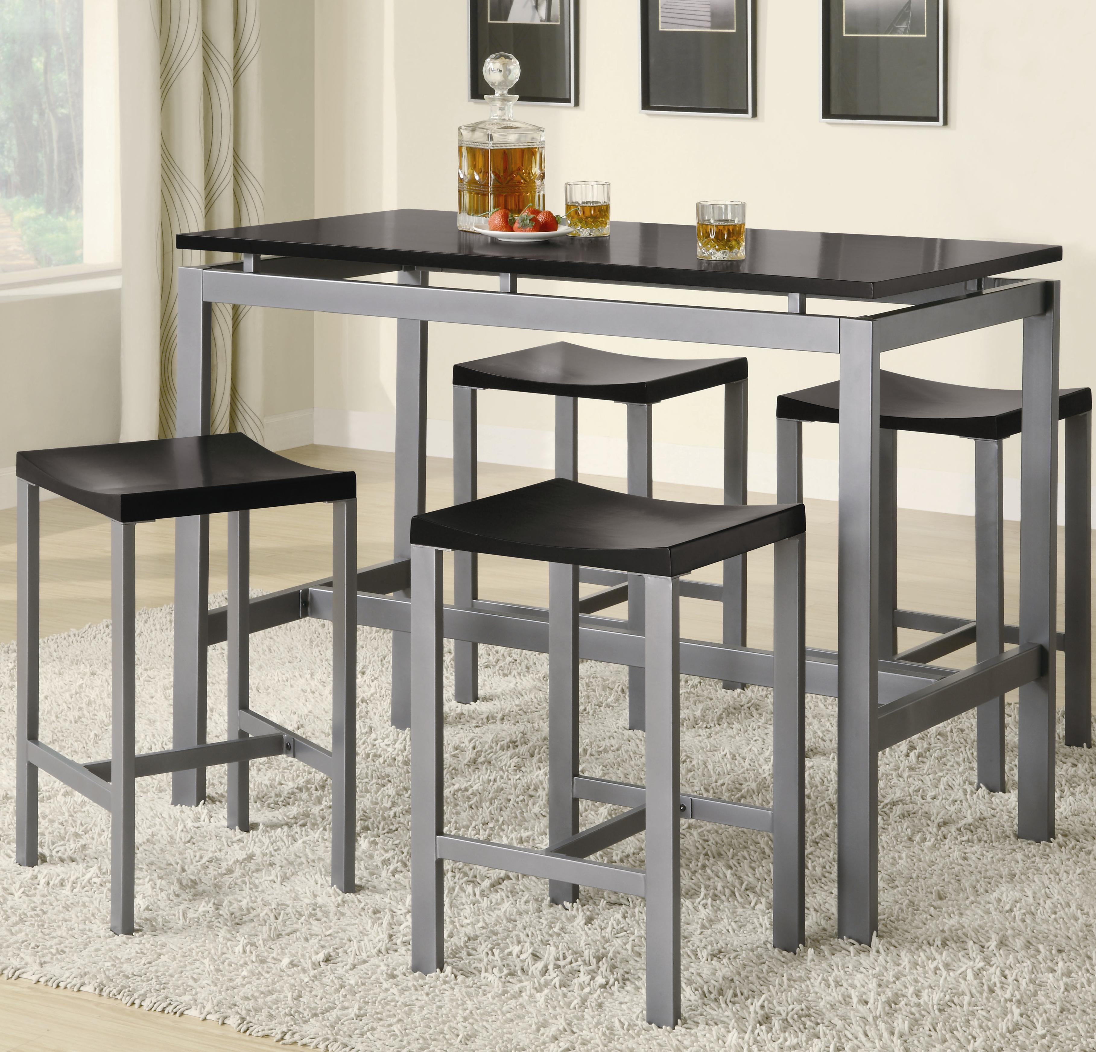 Coaster Atlus 150095 Counter Height Contemporary Silver Metal Table ...
