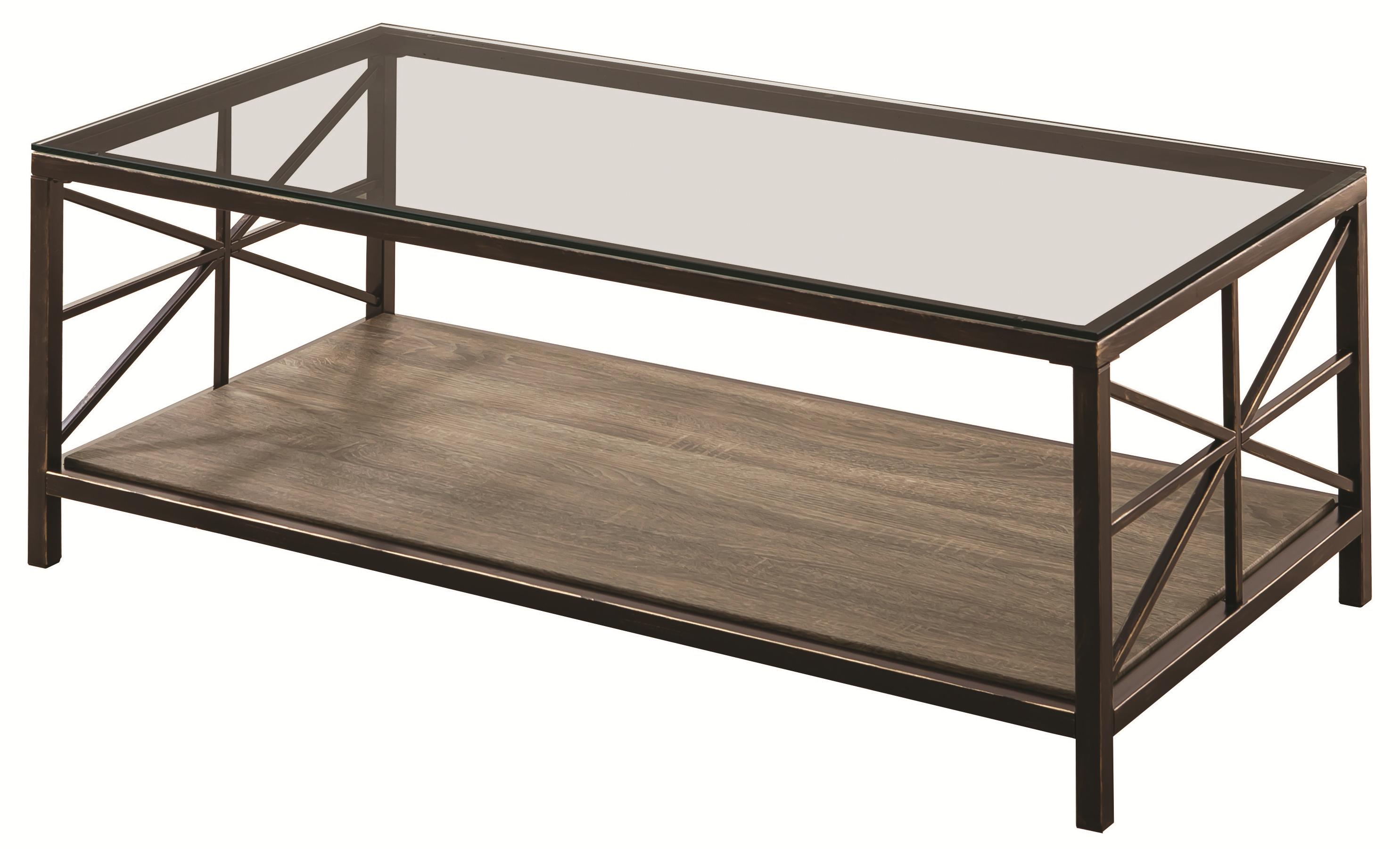 Coaster Avondale 701398 Rustic Coffee Table With Wood Shelf And Glass Top Dunk Bright