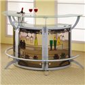 Coaster Bar Units and Bar Tables Contemporary Silver Metal Bar Unit with Glass Top - 100135 - Bar Units Shown in a Group of 3: Use as Many as You Like to Fit Your Space