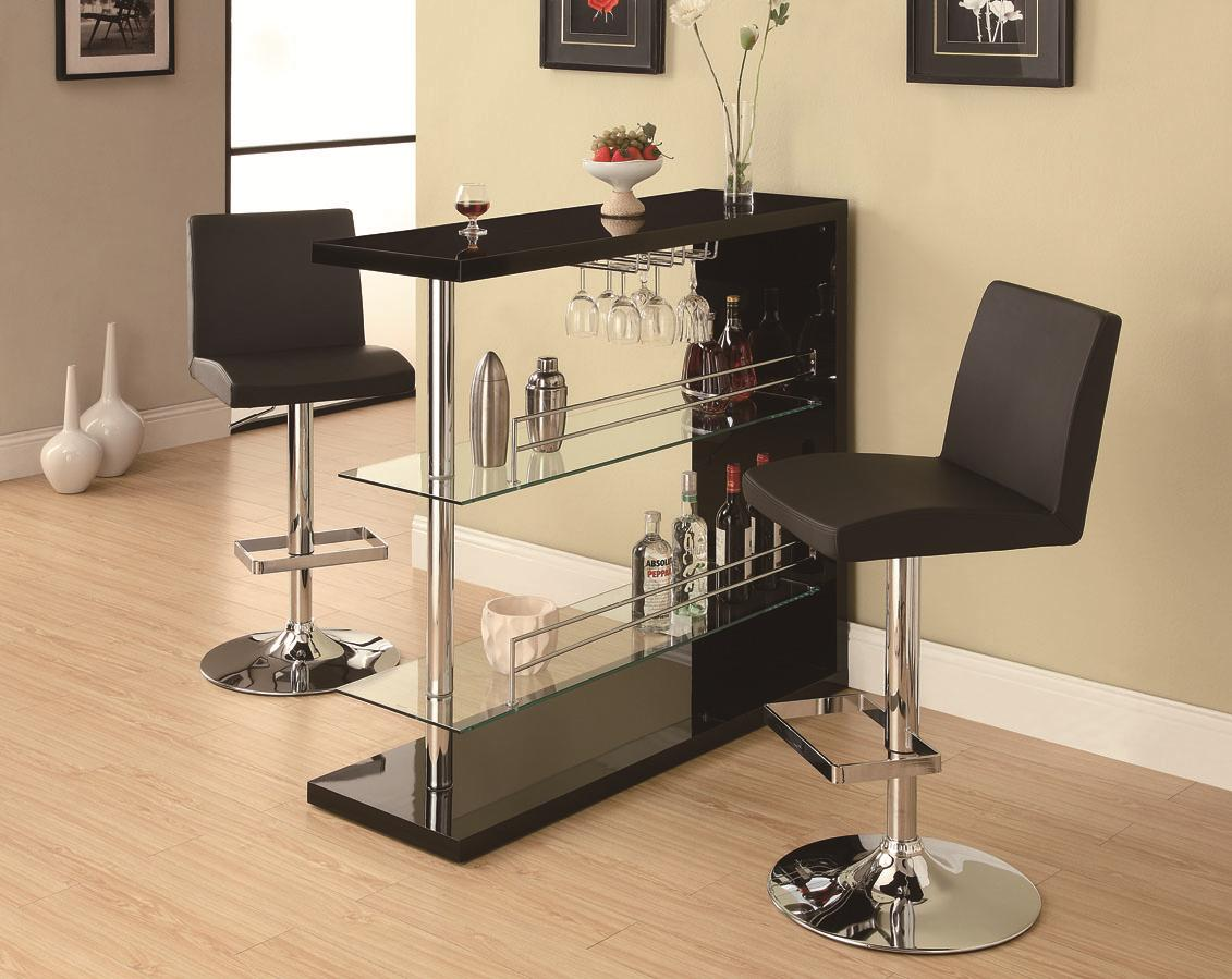 Coaster Bar Units and Bar Tables Contemporary Bar Set with Stools - Item Number: 100165+2x120357