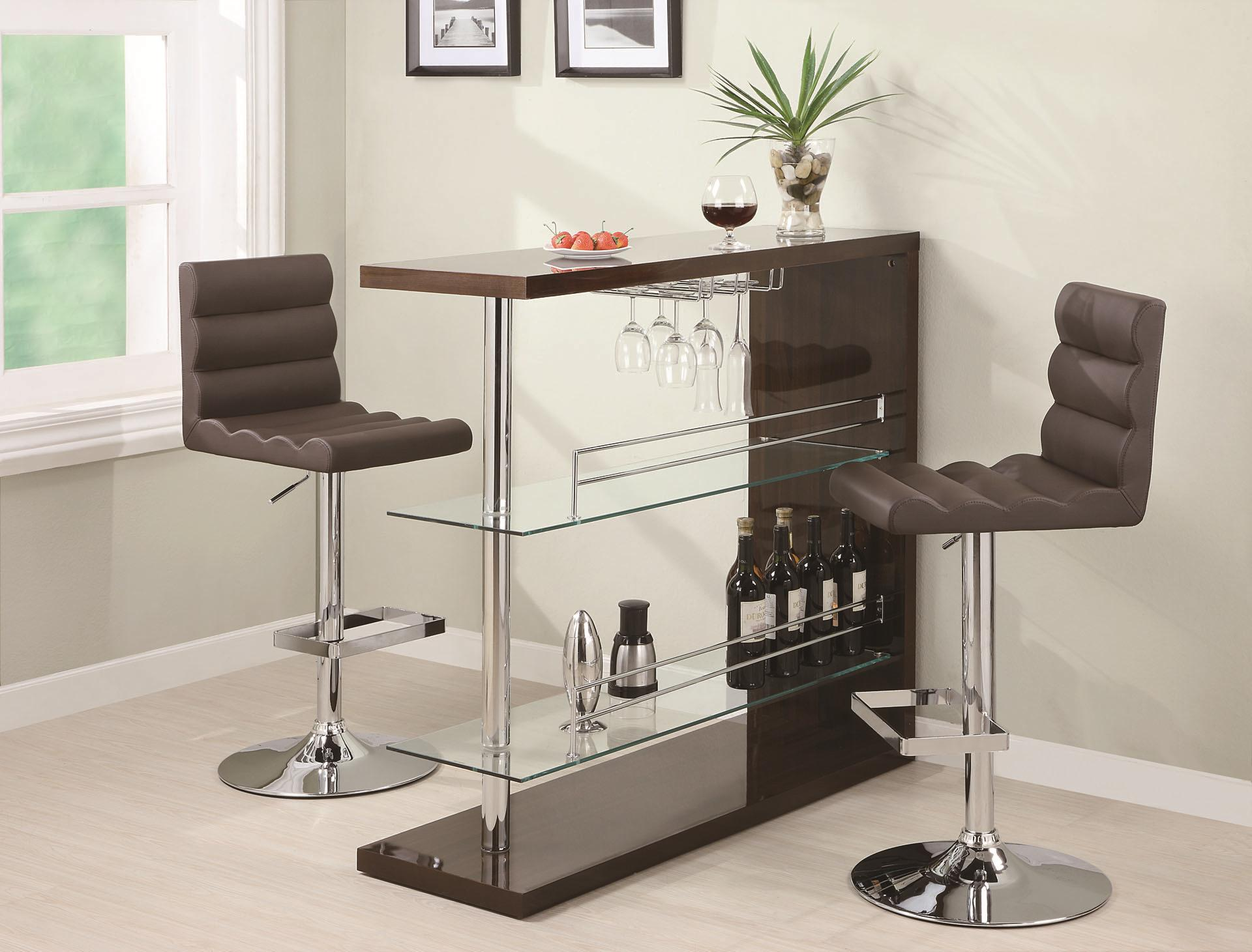 Coaster Bar Units and Bar Tables Contemporary Bar Set with Stools - Item Number: 100166+2x120355