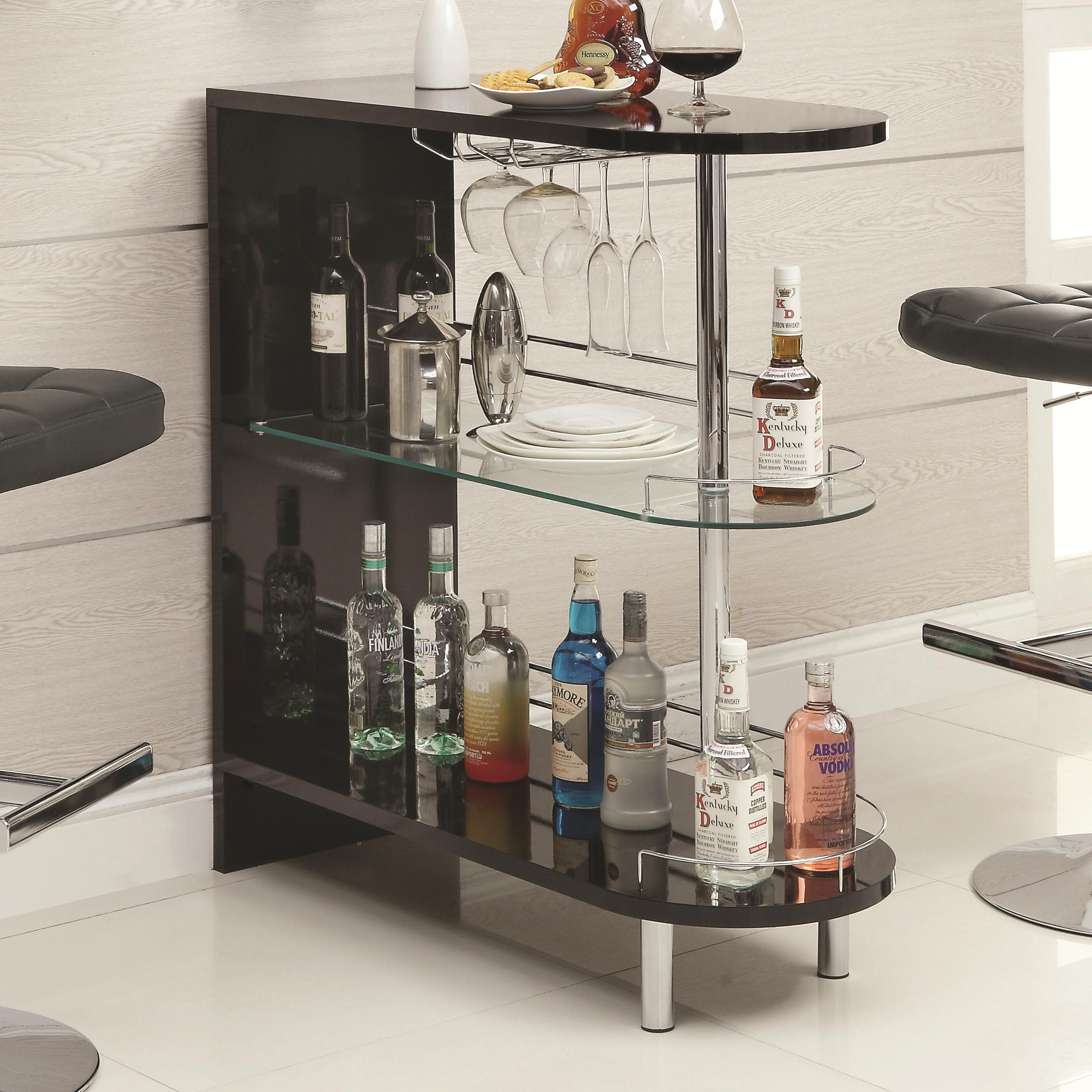 Coaster Bar Units and Bar Tables 101063 Contemporary Black Bar Table ...