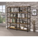 Coaster Barritt Large Wood and Metal Open Bookcase