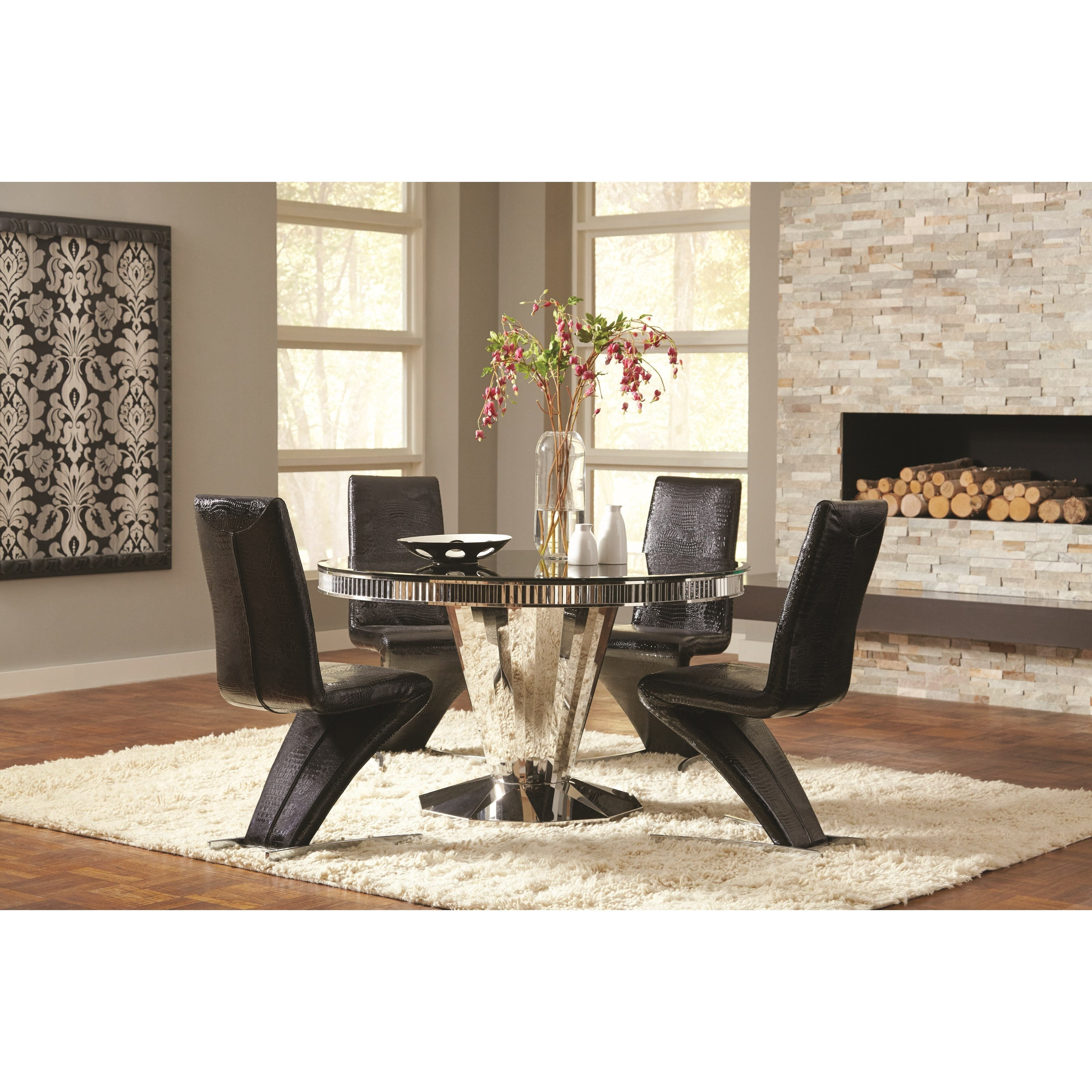 Mauna Tempered Glass Top Round Dining Table Set: Fine Furniture Barzini 105061 Round Dining Table With