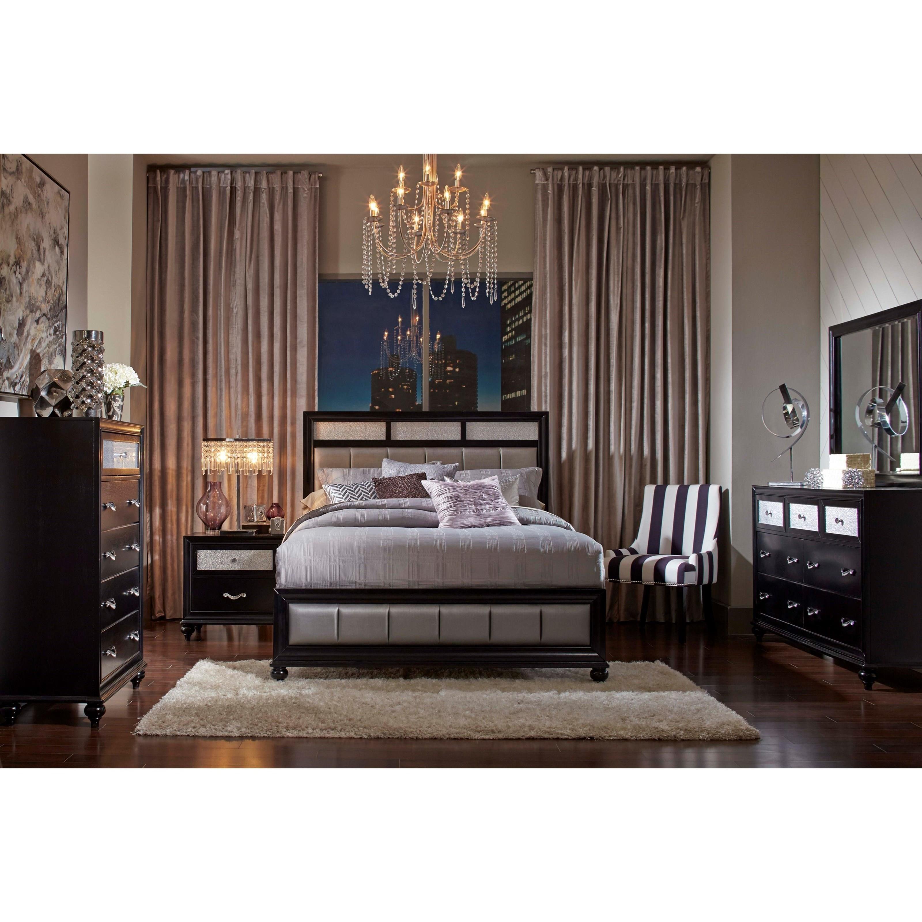 Coaster Barzini King Bed With Metallic Leatherette