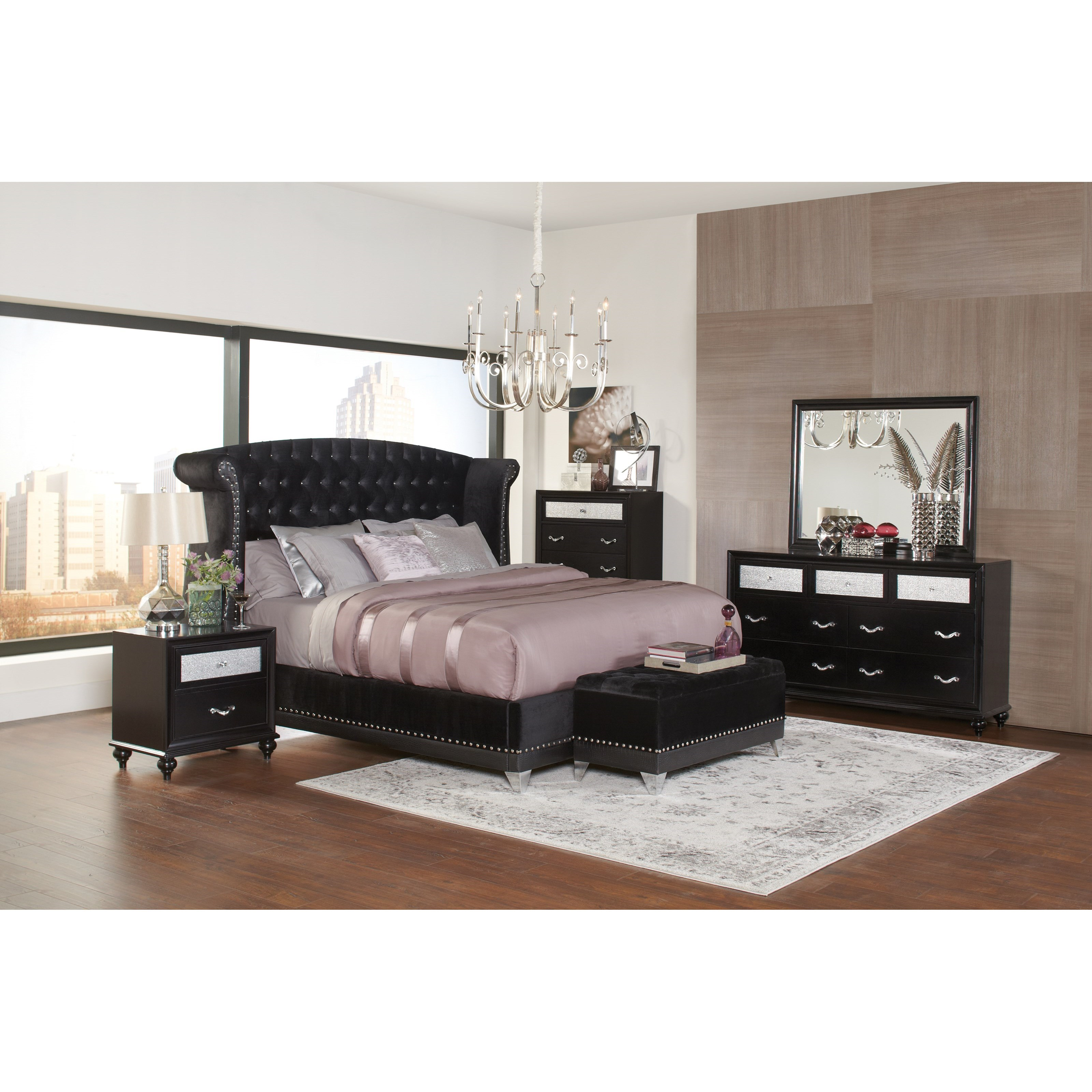 Coaster Barzini 300643Q Glamorous Upholstered Queen Bed