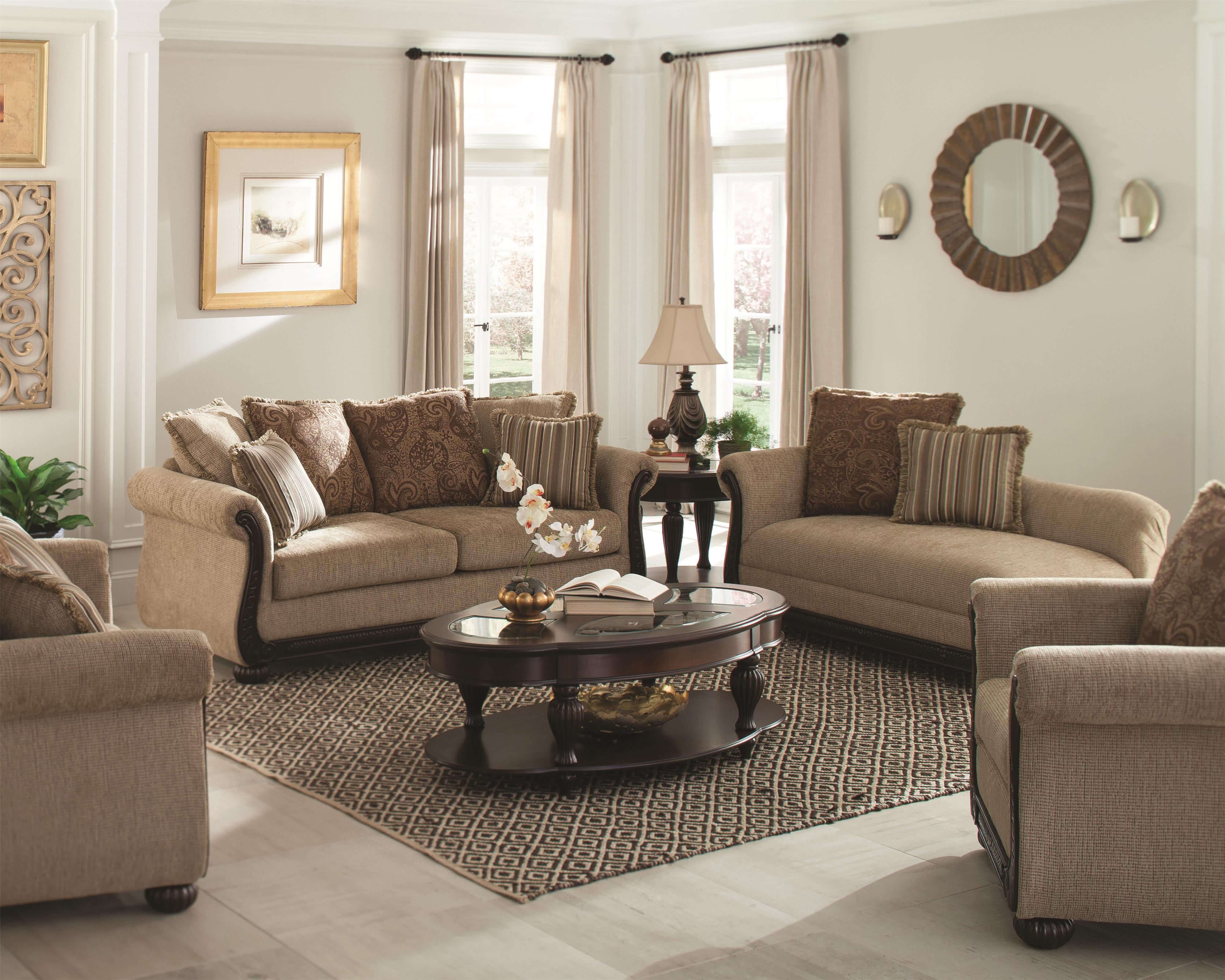 Coaster Beasley Stationary Living Room Group - Item Number: 5052 Stationary Living Room Group 1