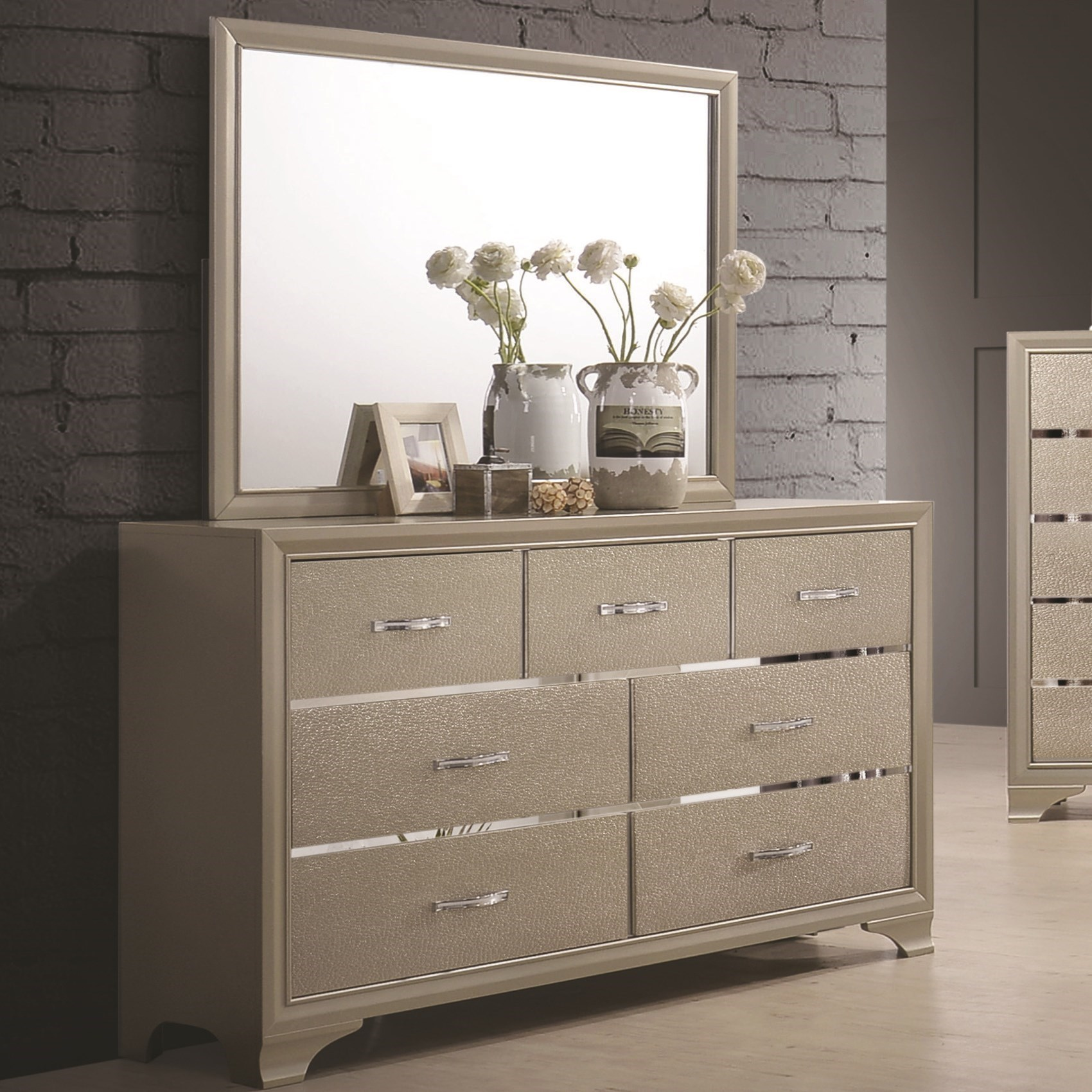Glamorous Seven Drawer Dresser And Mirror