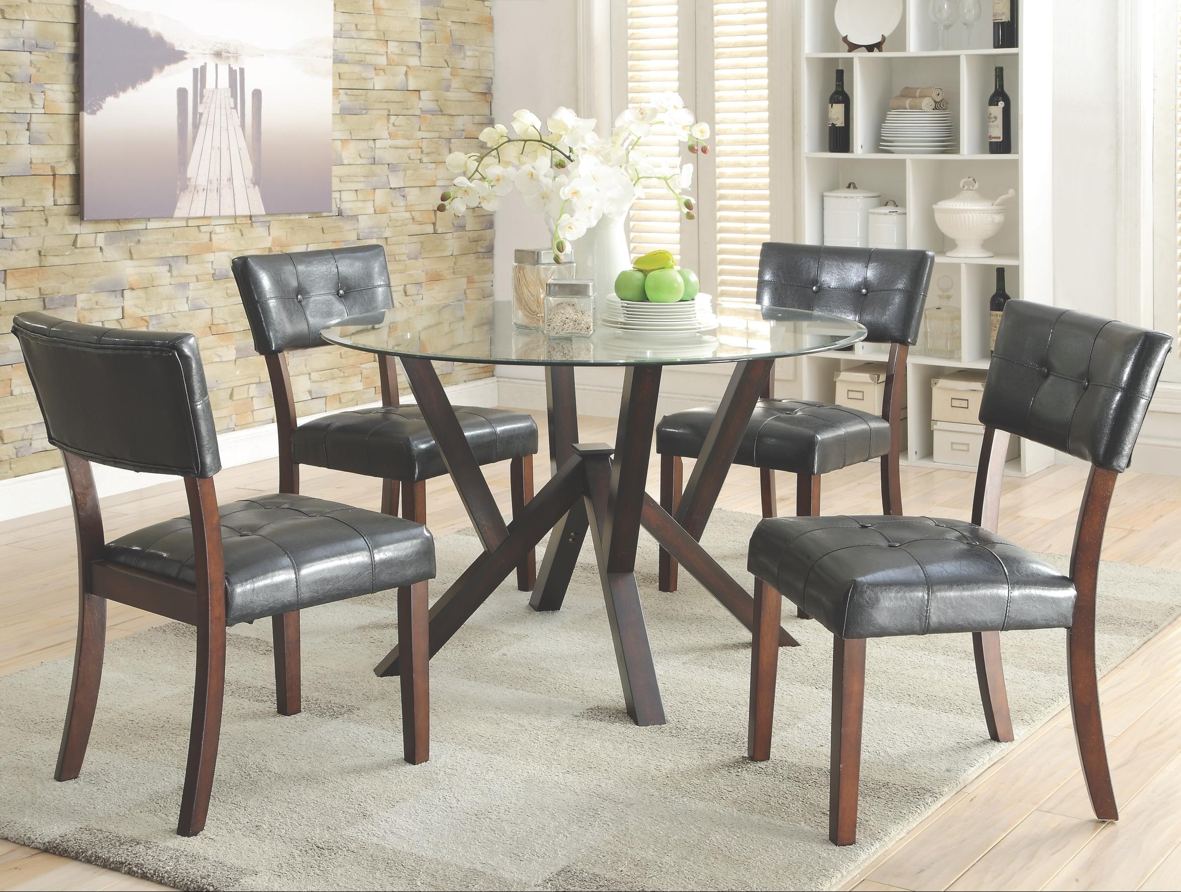 Coaster Beaux 5 Piece Round Table Set - Item Number: 105850+4x105852