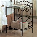 Coaster Violet Transitional Iron Nightstand with Shelf