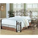 Coaster Violet Transitional Iron Nightstand with Shelf - 300162 - Shown with Queen Bed