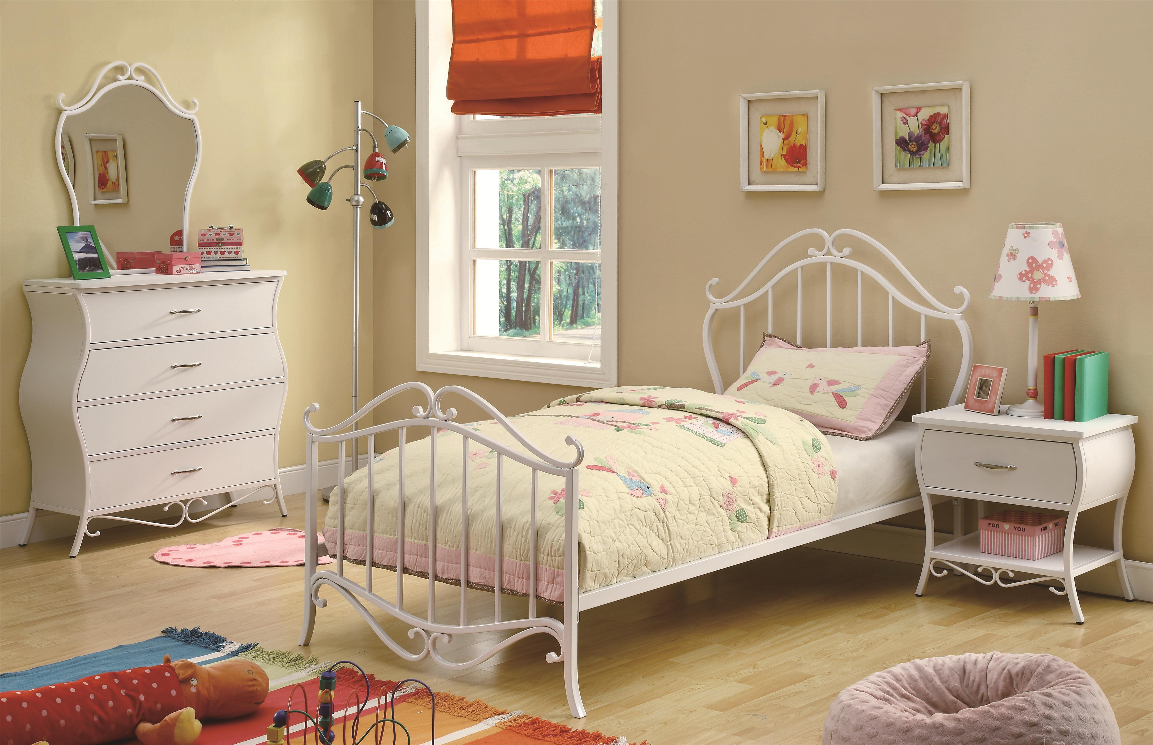Najarian Nba Youth Bedroom In A Box: Coaster Bella 400521T Twin Youth Bed In White Metal With