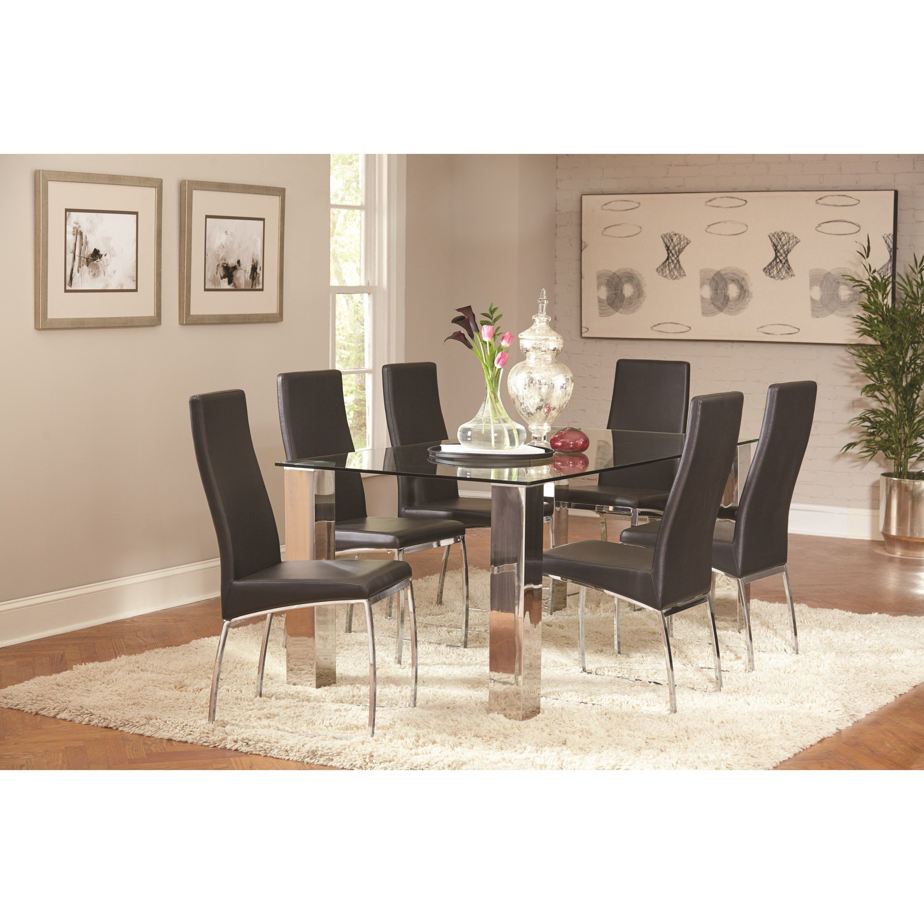 Coaster Bellini Dining Table and Chair Set - Item Number: 107111+6x107112