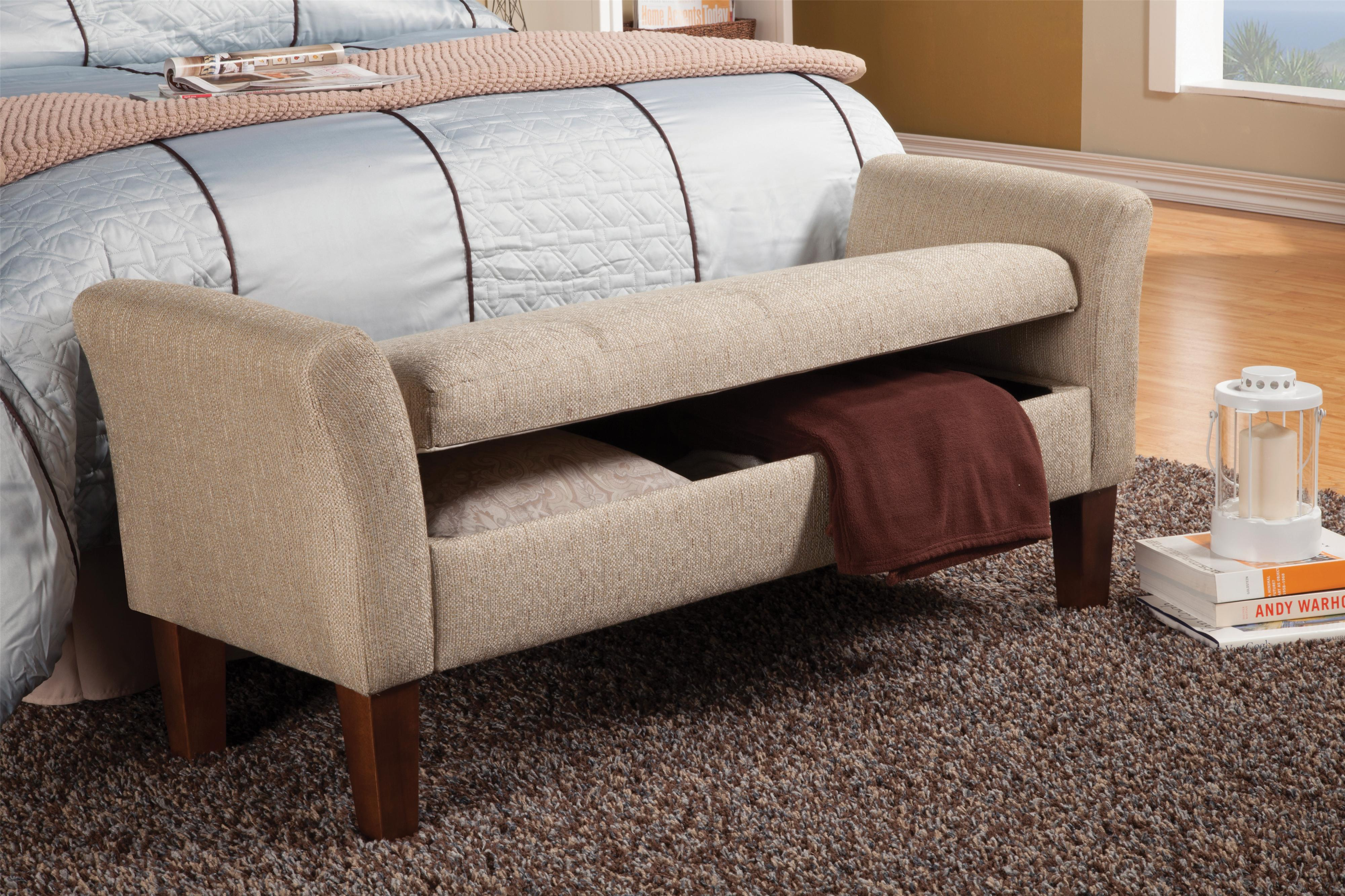 Coaster Benches Storage Bench In Tan Woven Fabric Value