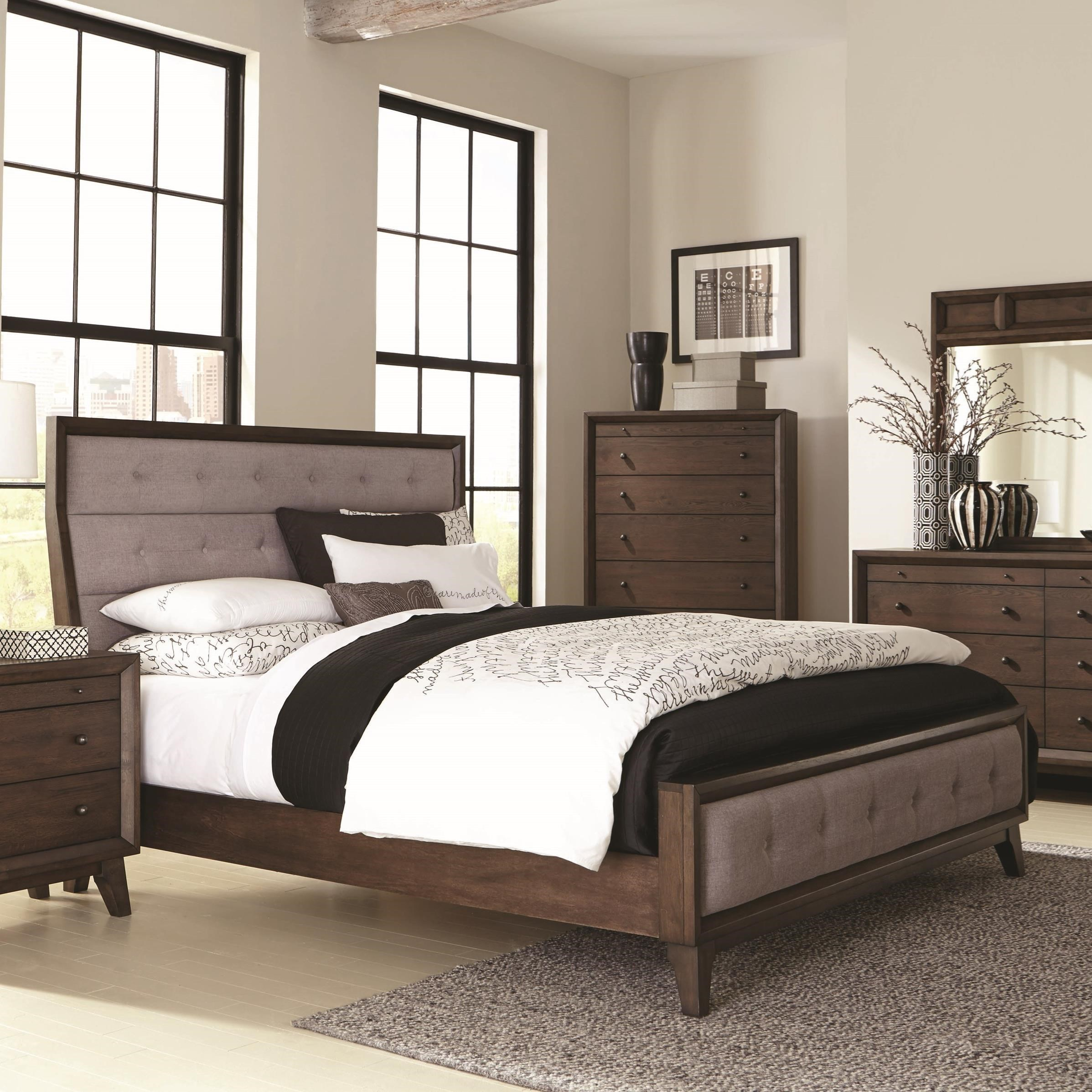Coaster Bingham King Upholstered Bed Del Sol Furniture