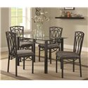 Coaster Blake Dining Table with Metal Base and Glass Top - Shown with Coordinating Chairs
