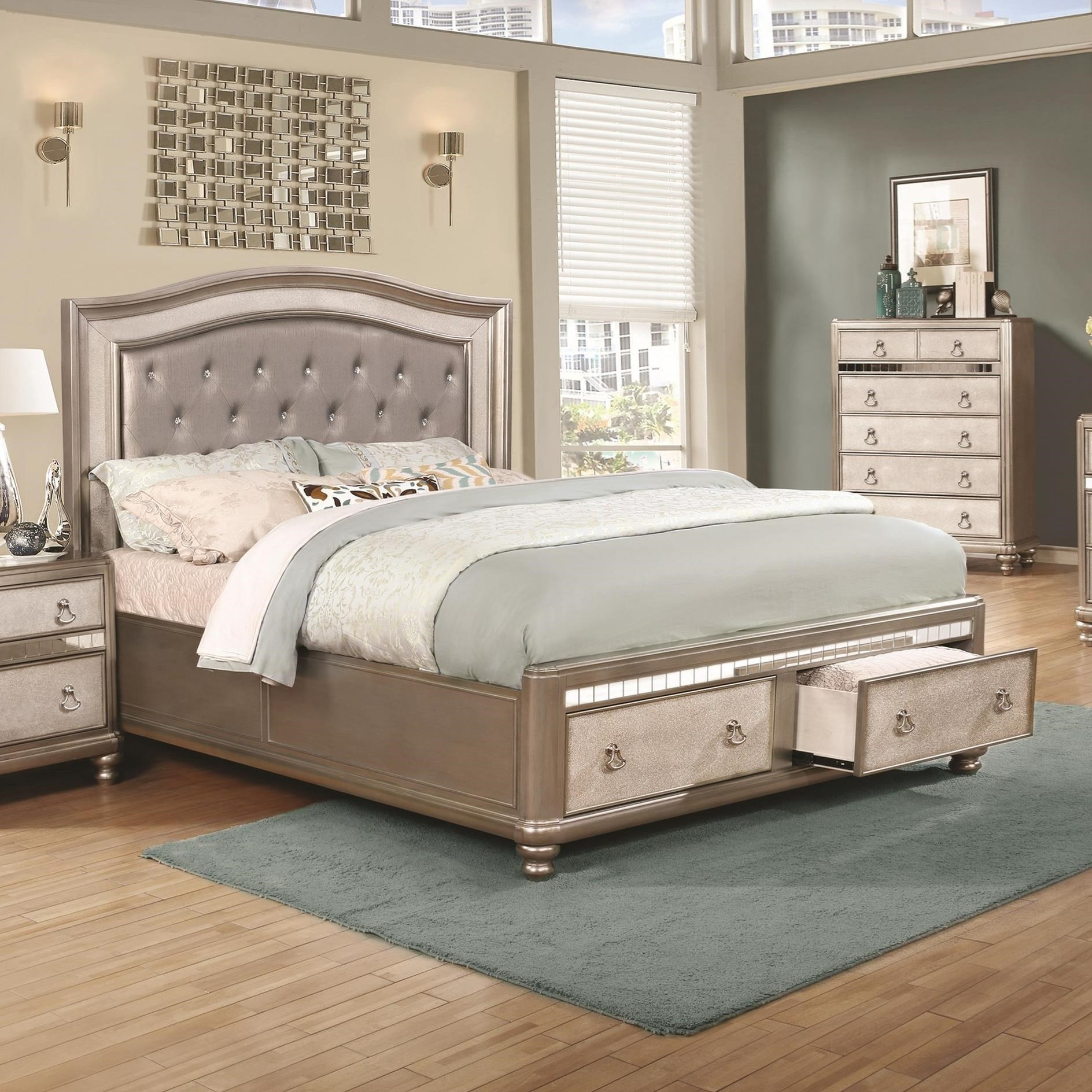 Coaster Bling Game Upholstered Queen Bed With Storage