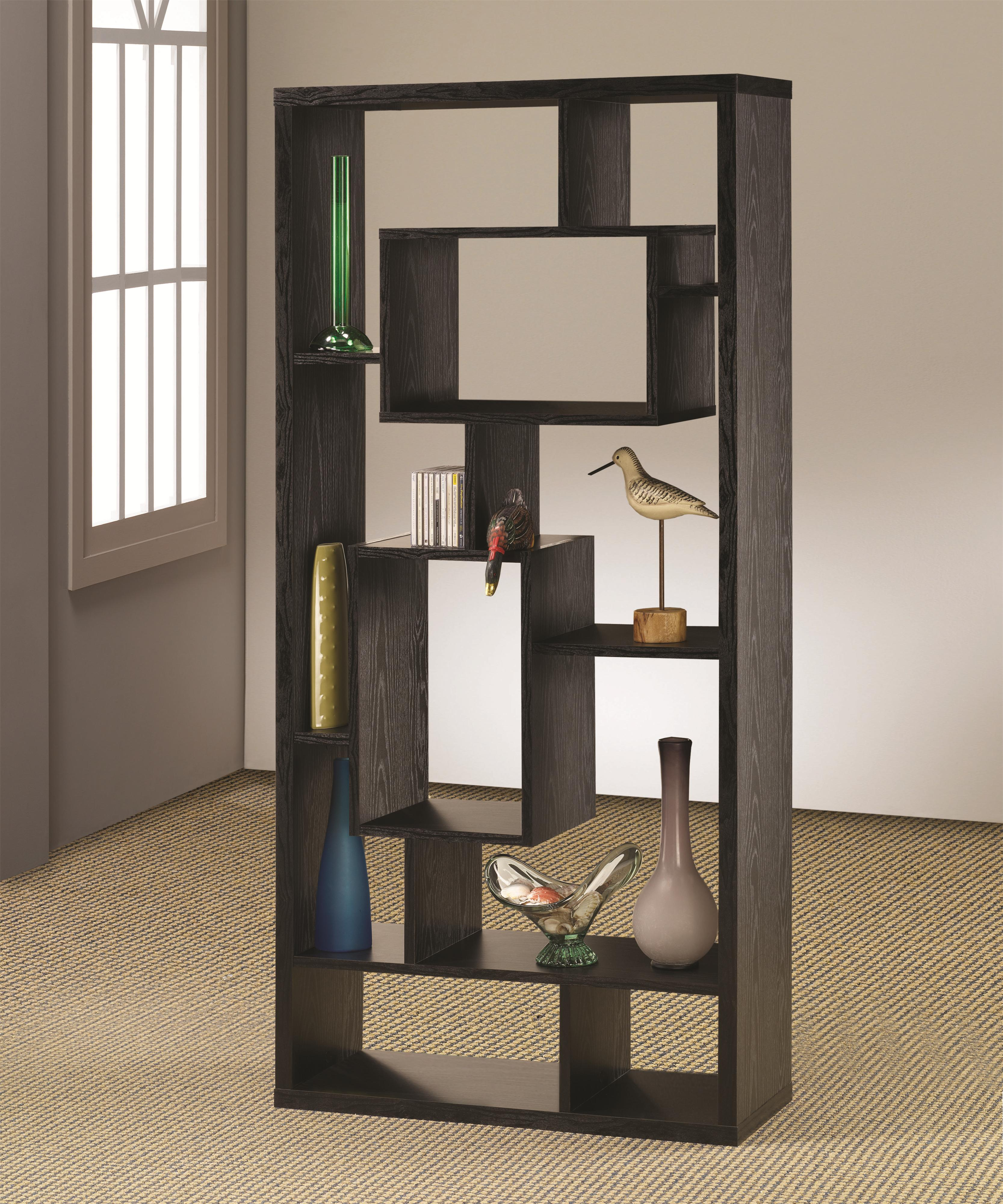 Backless Bookshelves Bookcases Asymmetrical Cube Book Case with Shelves by Coaster