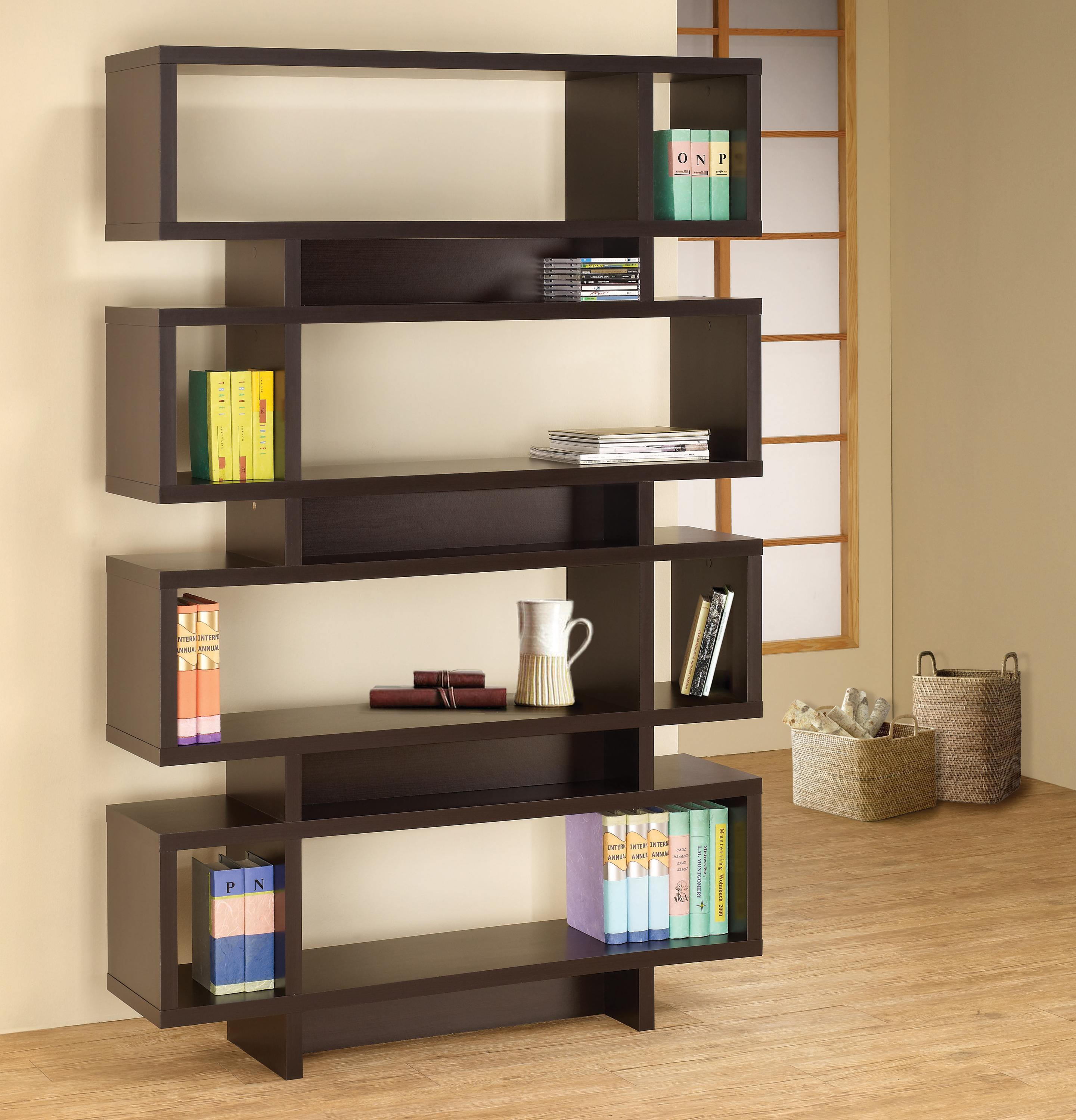 Coaster Bookcases Contemporary Cappuccino Finish Open Bookcase