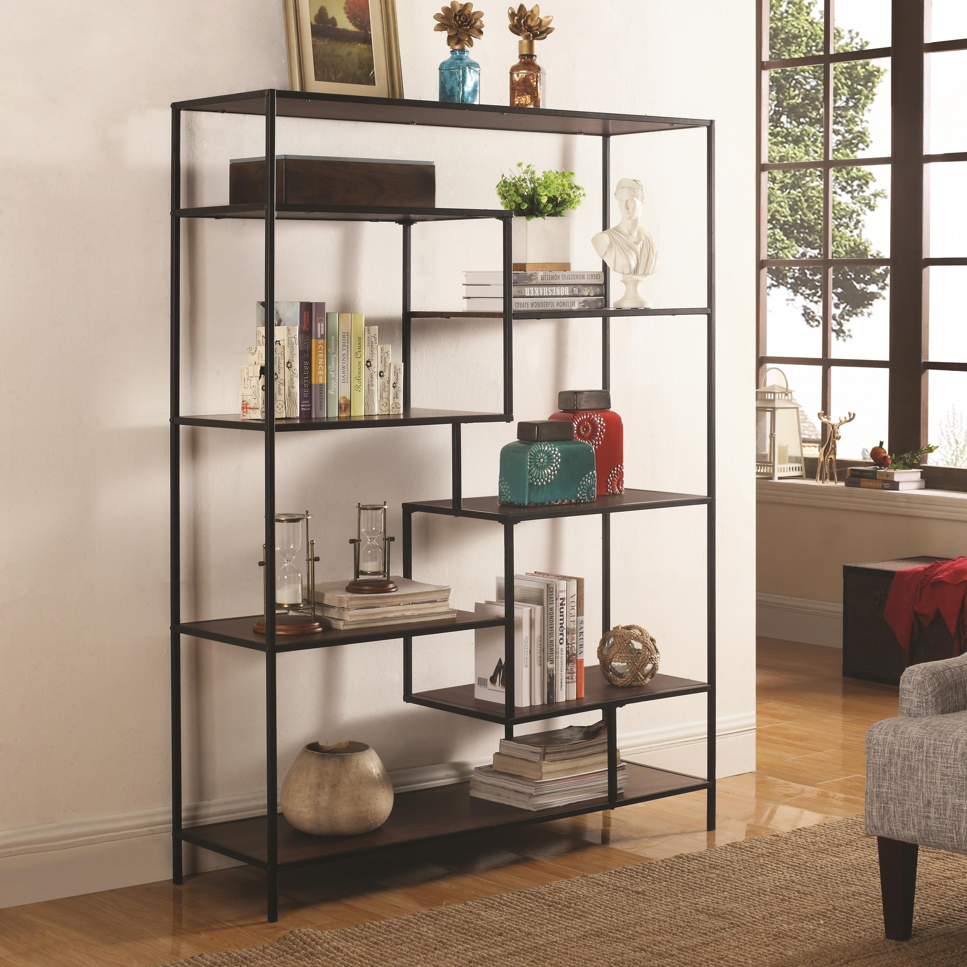 coaster height prime threshold products finish wood distressed width open bookcases with item bookcase trim