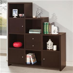 Coaster Bookcases Asymmetrical Bookshelf with Cube Storage Compartments