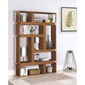 Coaster Bookcases Modern Geometric Bookcase with Light Walnut Finish