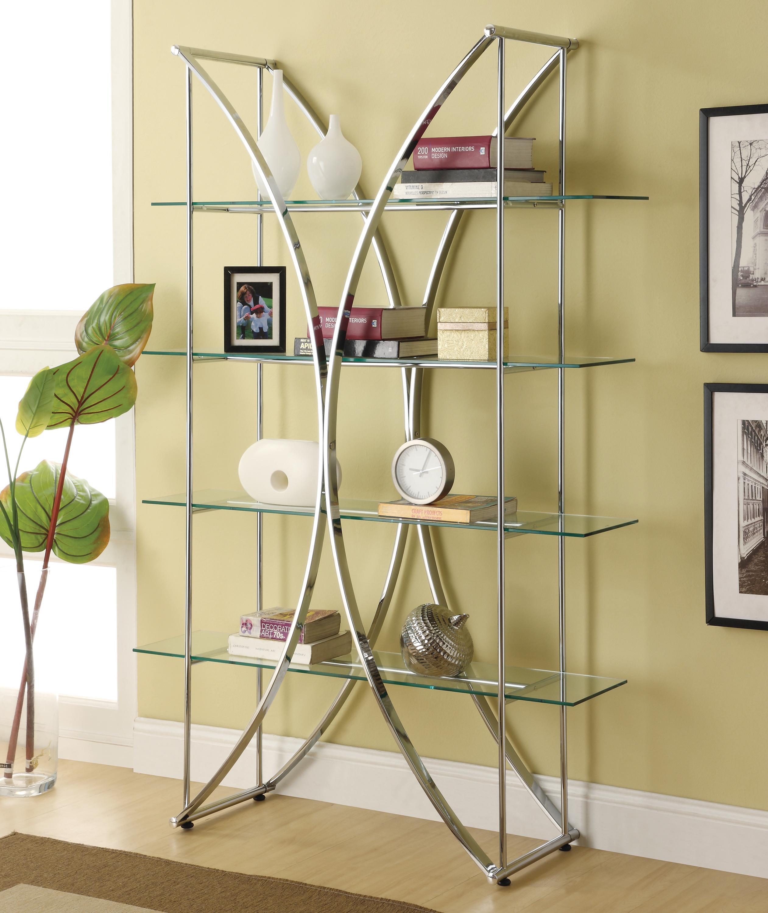Coaster Bookcases 910050 X-Motif Chrome Finish Bookshelf with ...