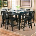 Coaster Pines Counter Height Dining Leg Table with Leaf - 101038BLK - Shown with Counter Height Chairs
