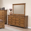 Coaster Brenner 8 Drawer Dresser and Mirror with Wood Frame