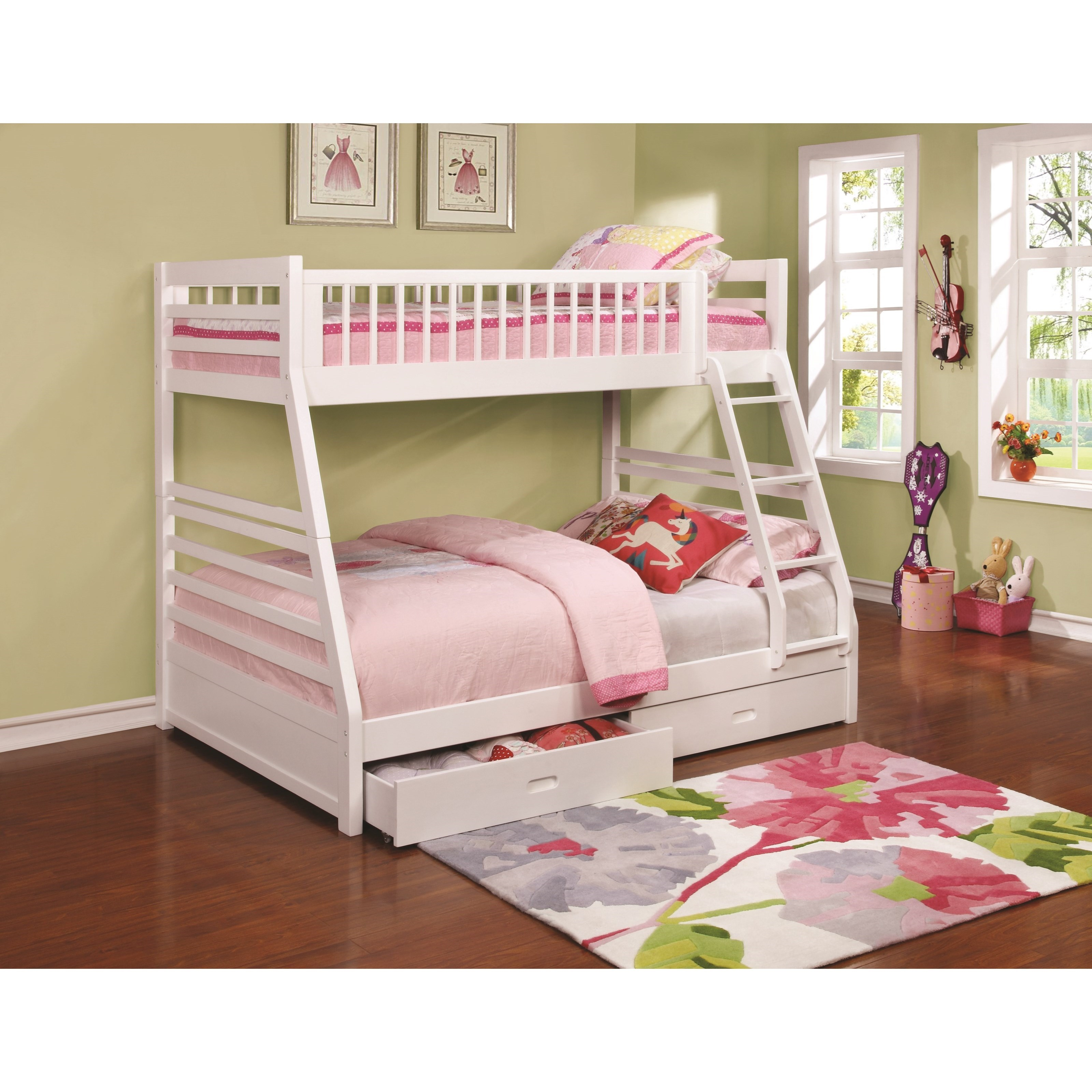 Coaster Bunks Twin Over Full Bunk Bed With 2 Drawers And