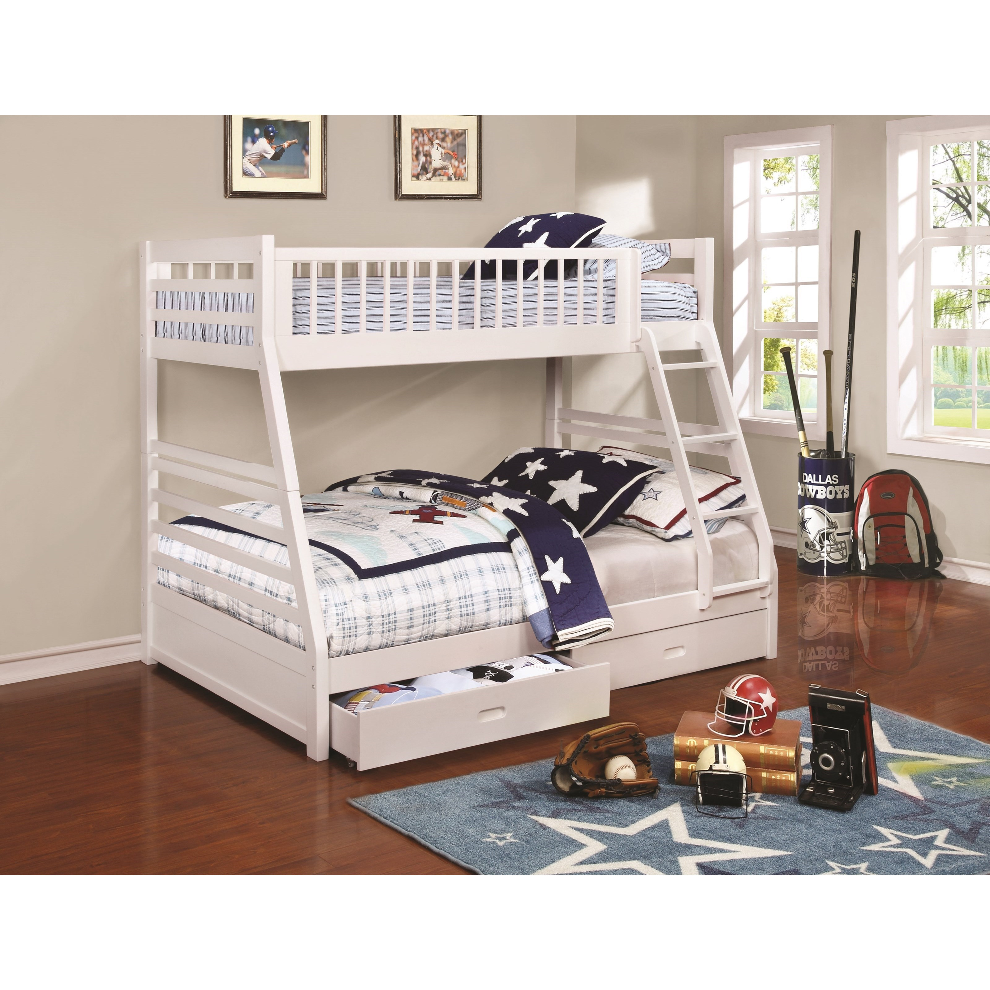 Coaster bunks 460180 twin over full bunk bed with 2 drawers and attached ladder furniture - Beds with desks attached ...