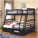 Coaster Bunks Twin over Full Bunk Bed with 2 Drawers and Attached Ladder - 460181 - Shown in Navy Finish - Bed Shown May Not Represent Size Indicated
