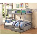 Coaster Bunks Twin over Full Bunk Bed with 2 Drawers and Attached Ladder - 460182