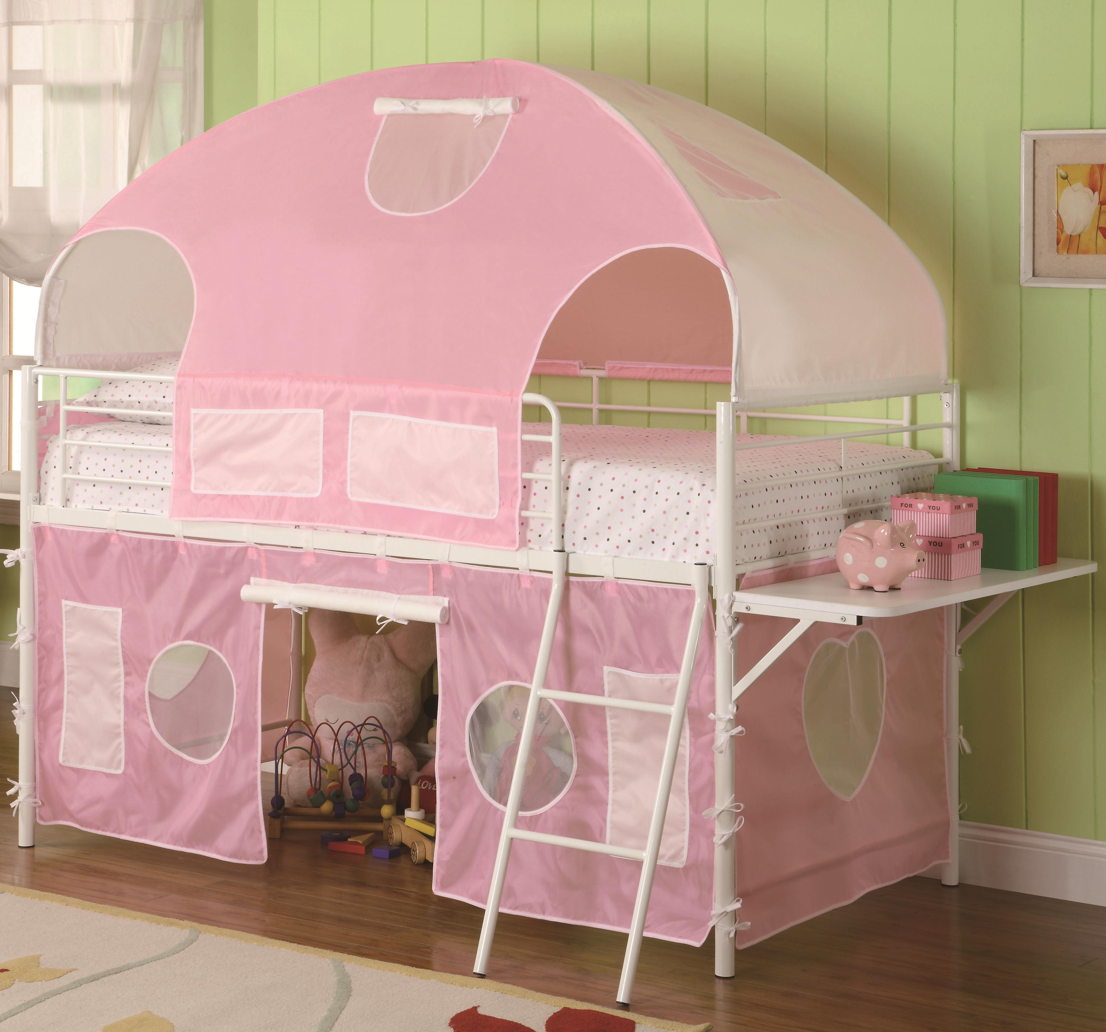 Coaster Bunks 460202 White Amp Pink Tent Bunk Bed Dunk