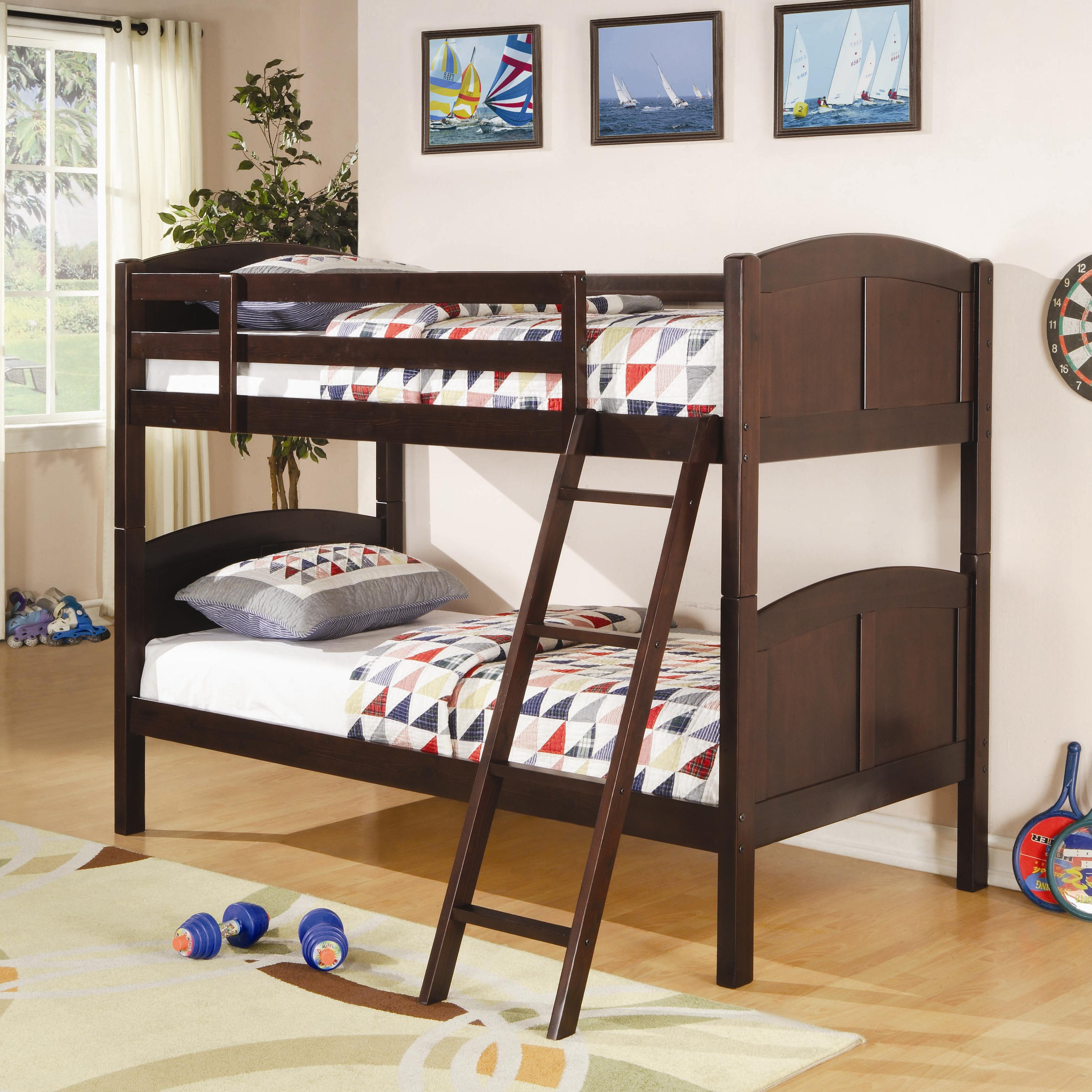 Picture of: Coaster Bunks 460213 Twin Over Twin Bunk Bed Corner Furniture Bunk Beds