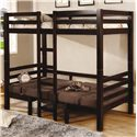 Coaster Bunks Twin Over Twin Convertible Loft Bed - Shown with Bottom Converted to Bed