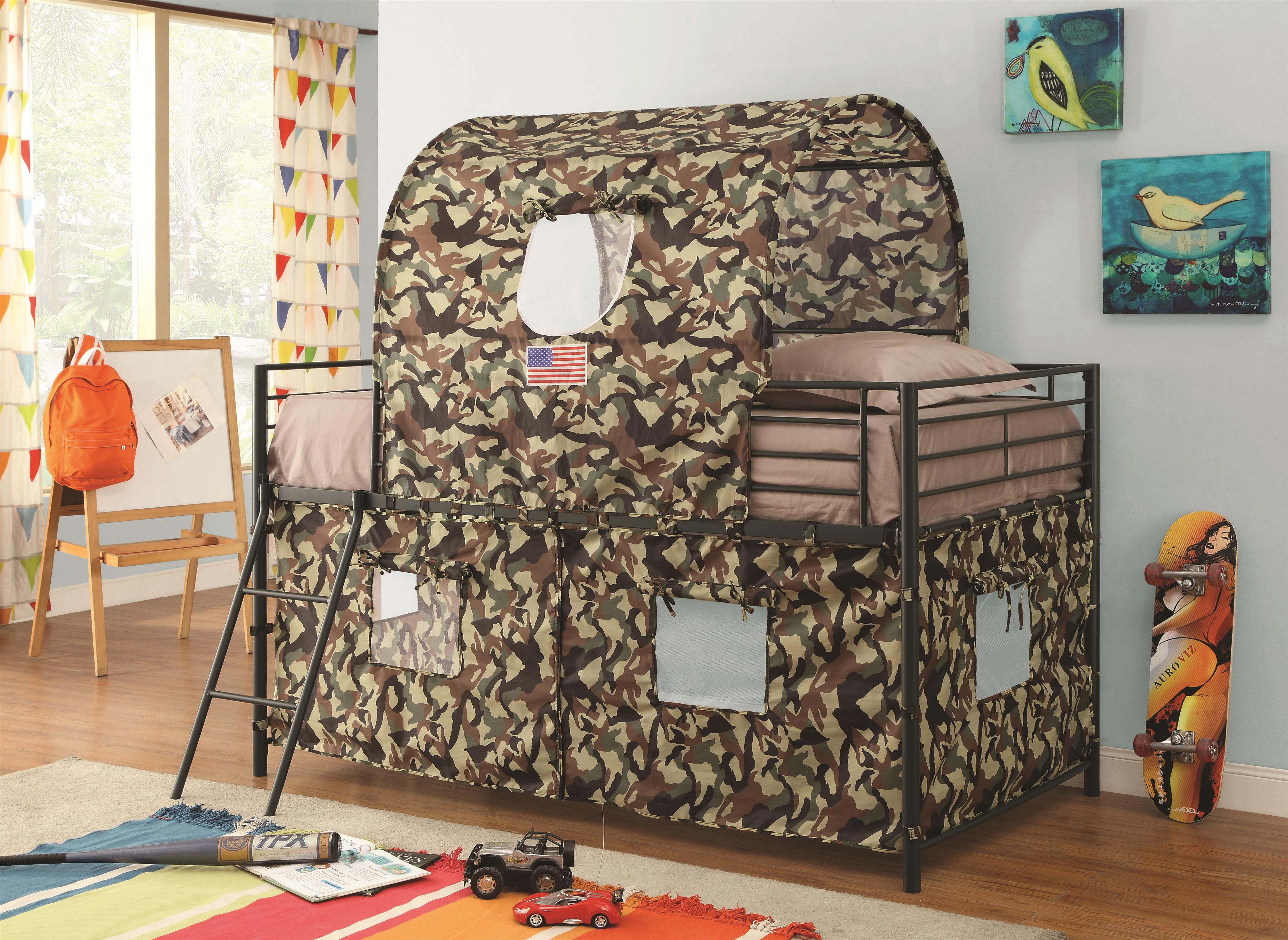 Coaster Bunks 460331 Camouflage Tent Loft Bed Dunk