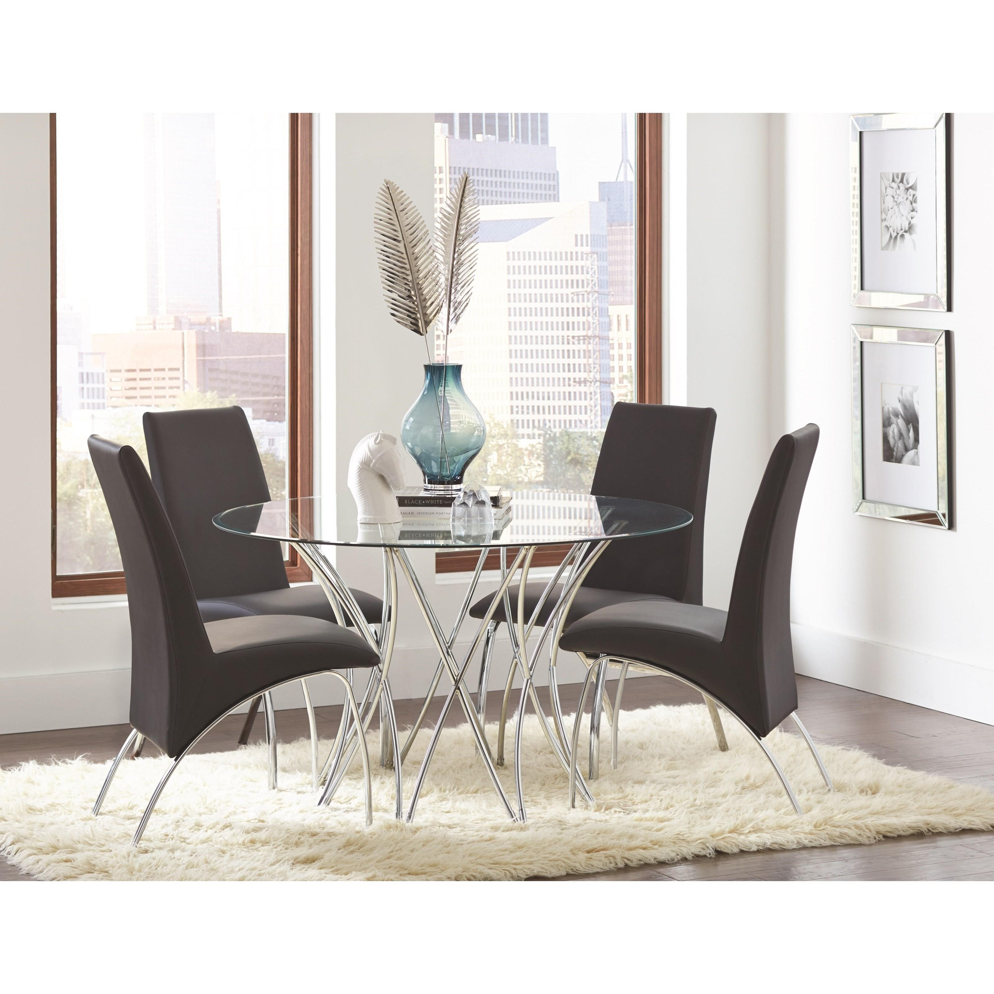 Coaster Carone Contemporary Glam Dining Room Set With: Coaster Cabianca Contemporary Round Glass Dining Table